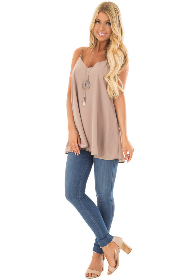 Taupe Flowy V Neck Tank Top front full body