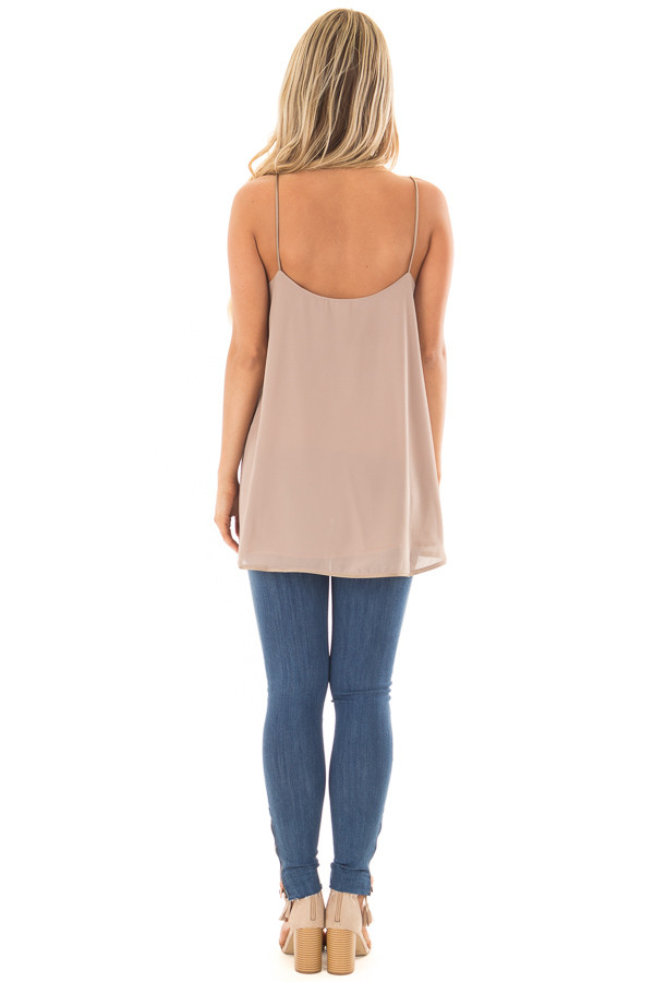 Taupe Flowy V Neck Tank Top back full body