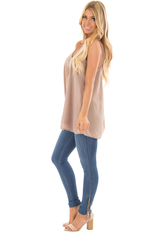 Taupe Flowy V Neck Tank Top side full body