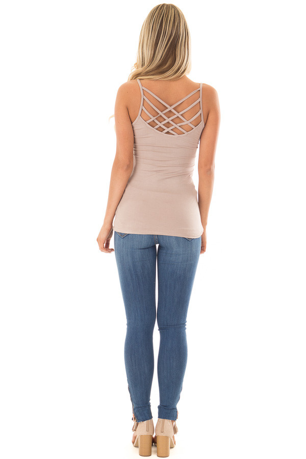 Cocoa Reversible Criss Cross Tank Top back full body