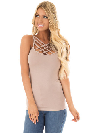 Cocoa Reversible Criss Cross Tank Top front closeup