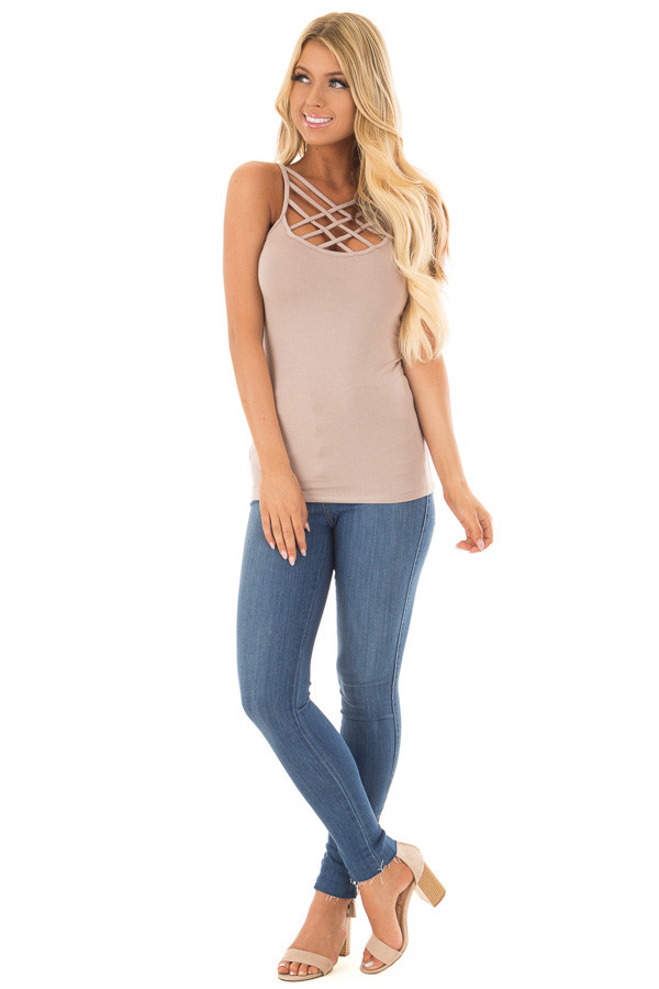 Cocoa Reversible Criss Cross Tank Top front full body