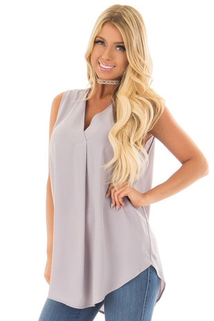 Grey Chiffon V Neck Sleeveless Blouse front closeup