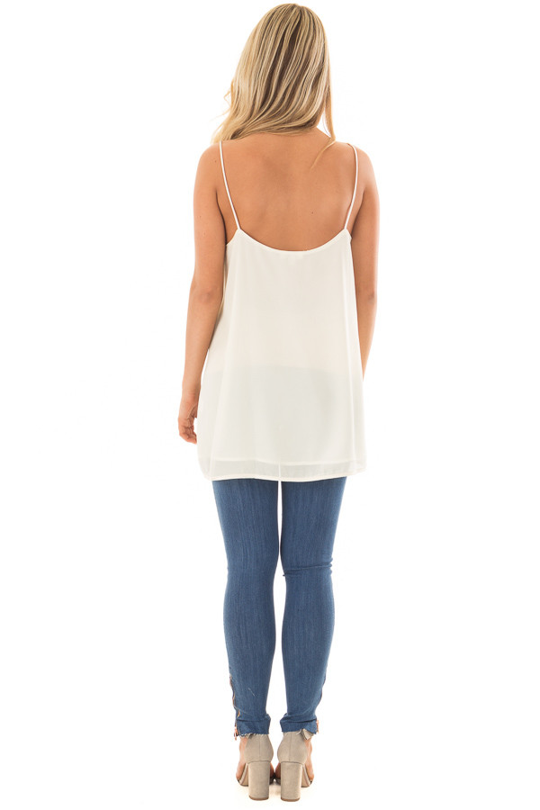 Cream Flowy V Neck Tank Top back full body