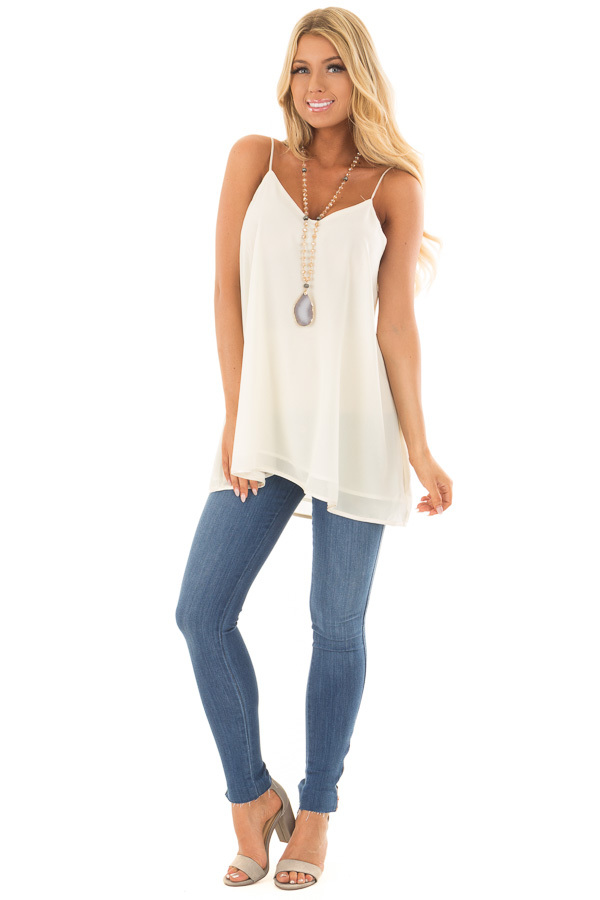 Cream Flowy V Neck Tank Top front full body
