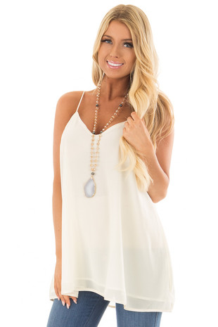 Cream Flowy V Neck Tank Top front closeup