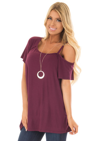 Wine One Side Open Shoulder Top front closeup
