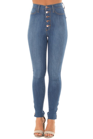 Medium Wash High Waisted Denim with Side Zipper Detail front