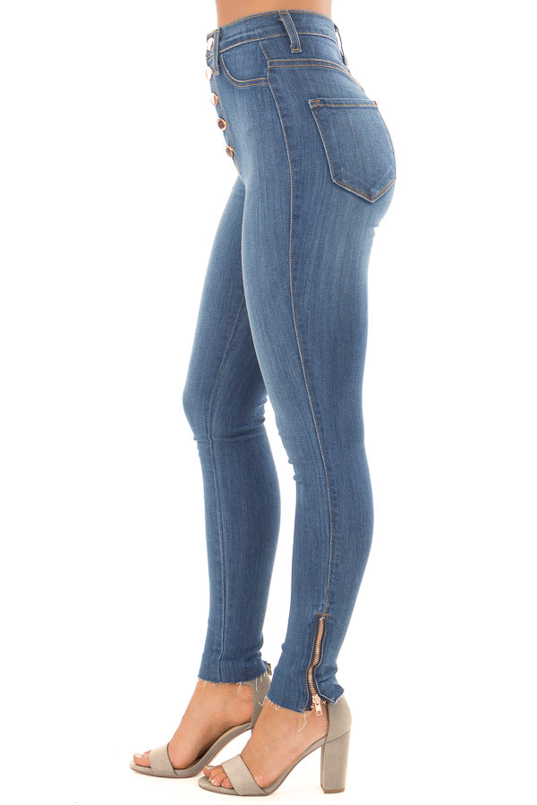 Medium Wash High Waisted Denim with Side Zipper Detail right side