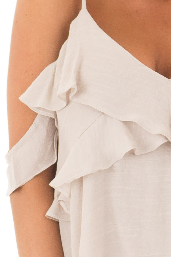 Champagne Cold Shoulder Top with Ruffle Details front detail