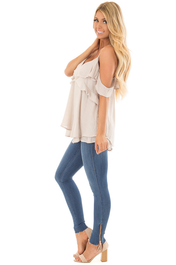 Champagne Cold Shoulder Top with Ruffle Details side full body