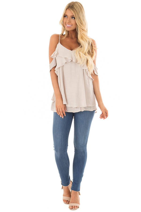 Champagne Cold Shoulder Top with Ruffle Details front full body