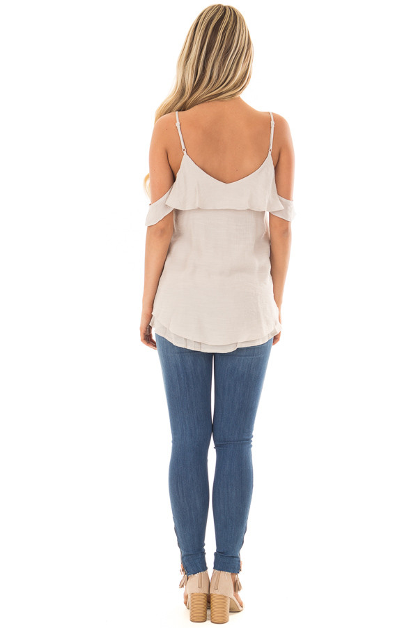 Champagne Cold Shoulder Top with Ruffle Details back full body