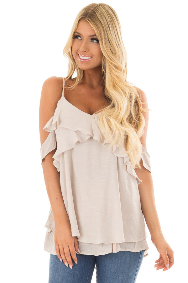 Champagne Cold Shoulder Top with Ruffle Details front closeup