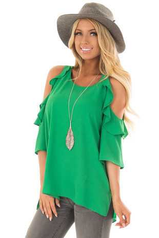 Kelly Green Cold Shoulder 3/4 Sleeve Top with Ruffle Detail front closeup