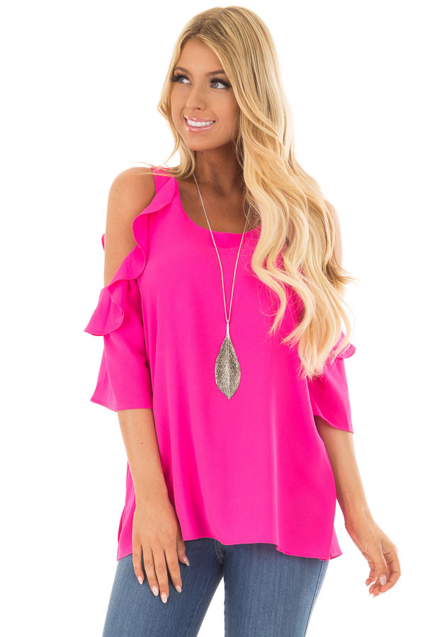 Hot Pink Cold Shoulder 3/4 Sleeve Top with Ruffle Detail front closeup