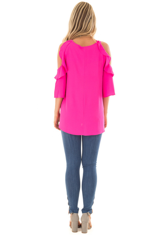 Hot Pink Cold Shoulder 3/4 Sleeve Top with Ruffle Detail back full body