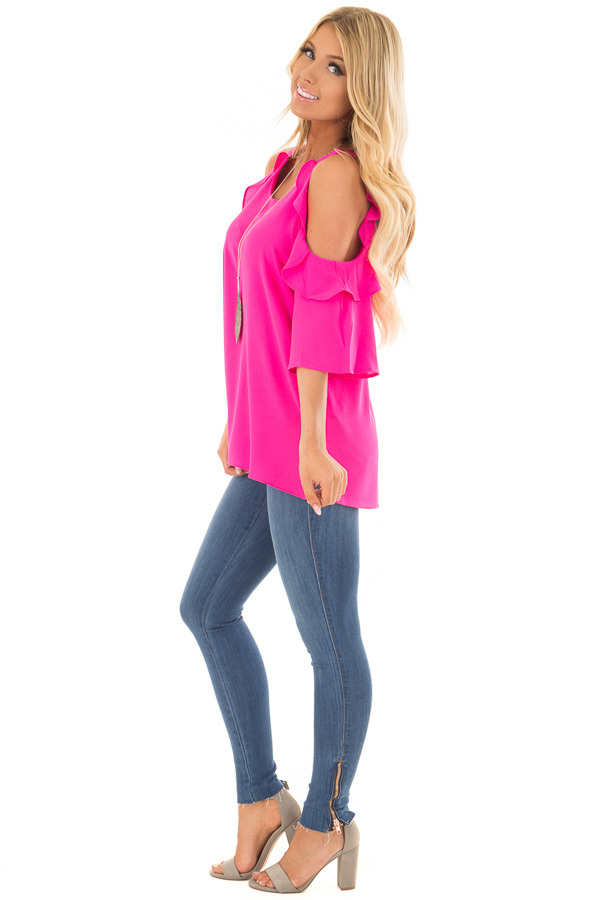 Hot Pink Cold Shoulder 3/4 Sleeve Top with Ruffle Detail side full body