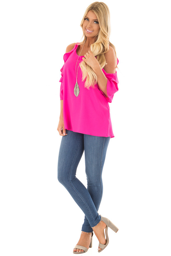 Hot Pink Cold Shoulder 3/4 Sleeve Top with Ruffle Detail front full body