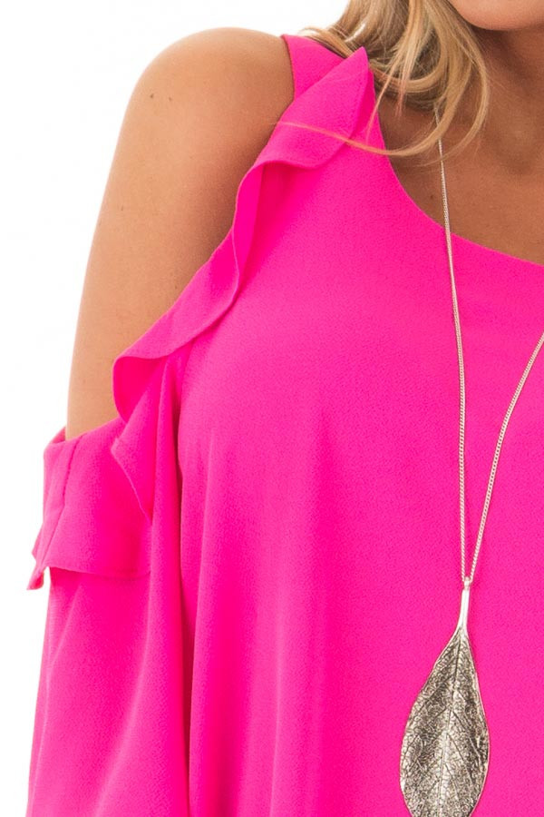 Hot Pink Cold Shoulder 3/4 Sleeve Top with Ruffle Detail front detail