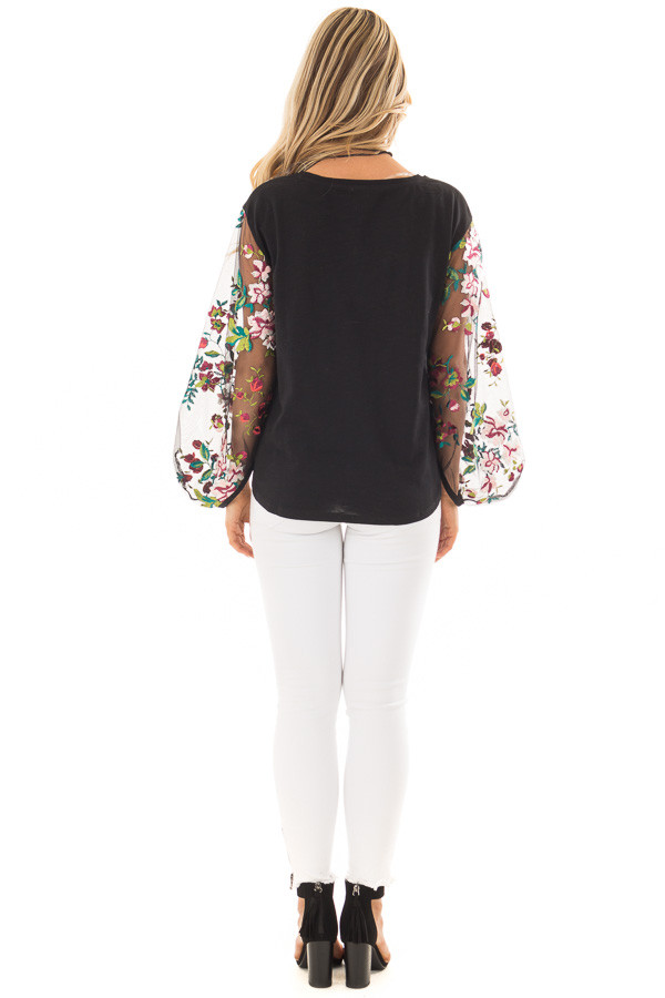 Black Top with Colorful Sheer Embroidered Sleeves back full body