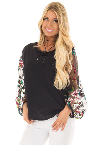 Black Top with Colorful Sheer Embroidered Sleeves front closeup