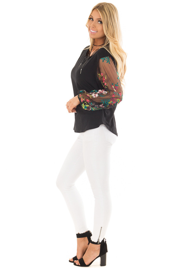 Black Top with Colorful Sheer Embroidered Sleeves side full body