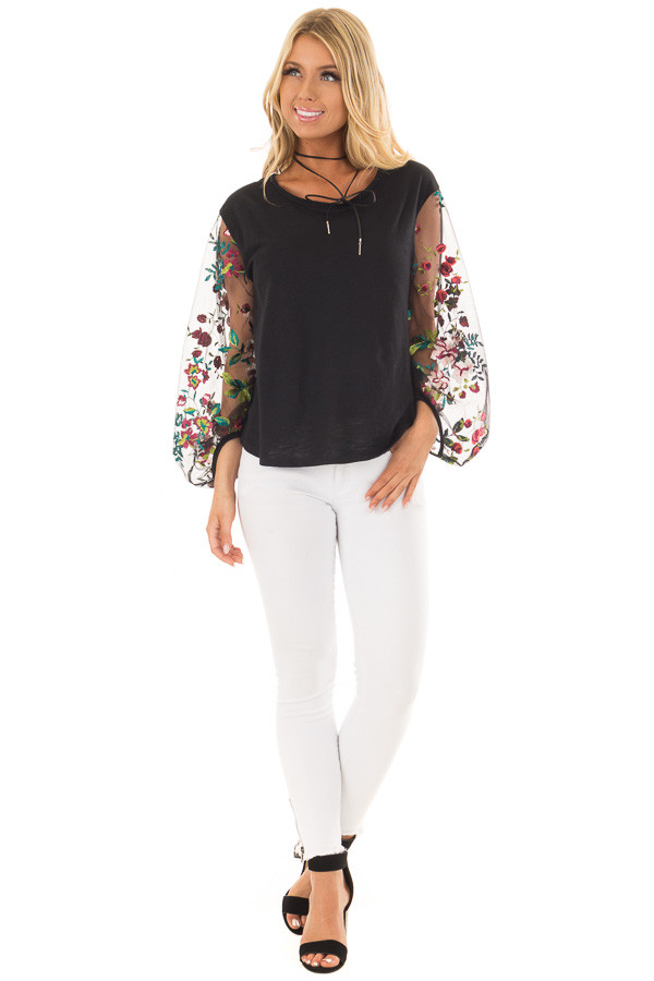 Black Top with Colorful Sheer Embroidered Sleeves front full body