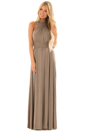 Sage Slinky Maxi Dress with Wrap Tie Waist Belt front full body