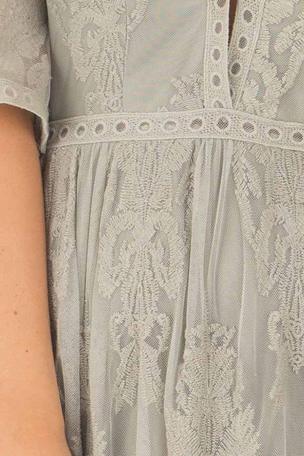 Sage Embroidered Mesh Maxi Dress with Plunging V Neckline front detail
