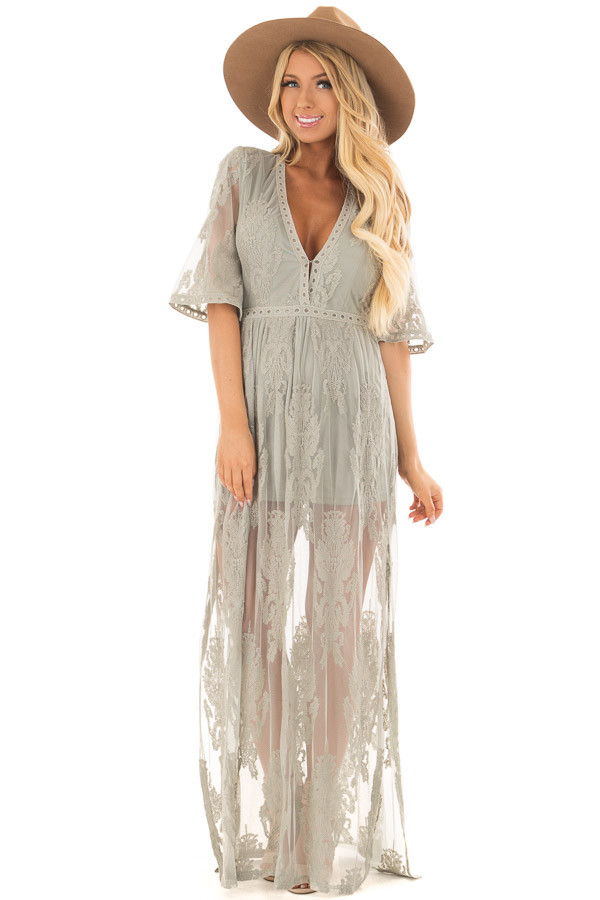Sage Embroidered Mesh Maxi Dress with Plunging V Neckline front full body