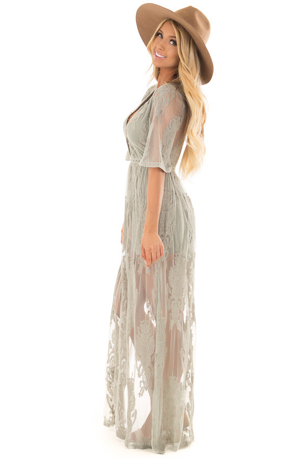 Sage Embroidered Mesh Maxi Dress with Plunging V Neckline side full body