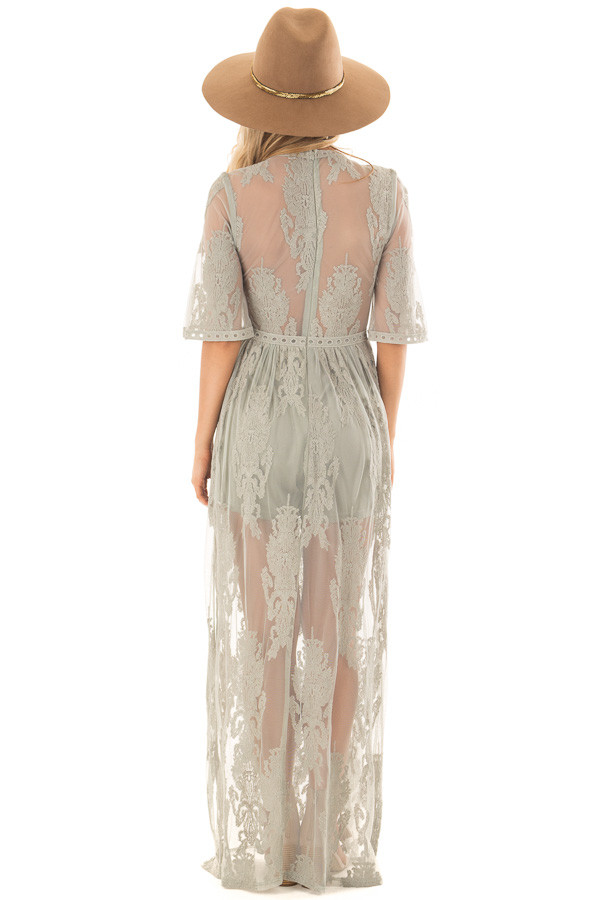 Sage Embroidered Mesh Maxi Dress with Plunging V Neckline back full body