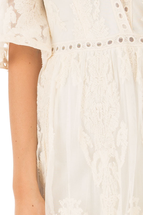 Cream Embroidered Mesh Maxi Dress with Plunging V Neckline front detail