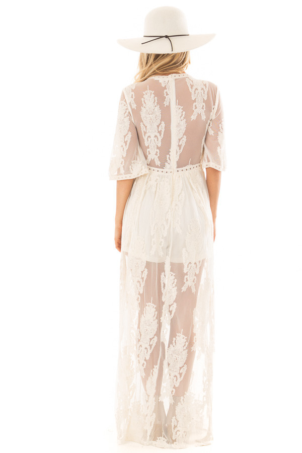 Cream Embroidered Mesh Maxi Dress with Plunging V Neckline back full body