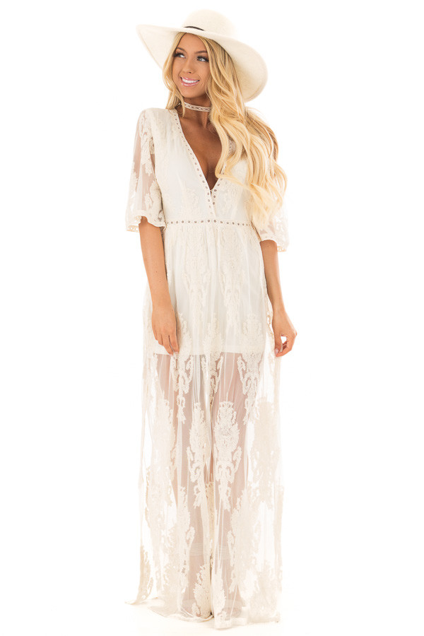 Cream Embroidered Mesh Maxi Dress with Plunging V Neckline front full body