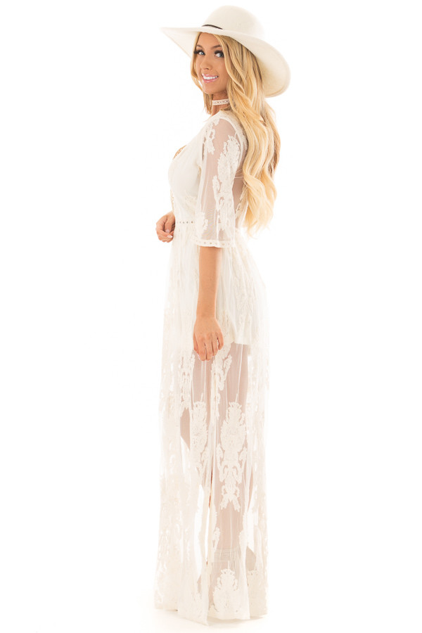 Cream Embroidered Mesh Maxi Dress with Plunging V Neckline side full body
