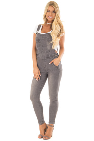 Grey Multi Pocket Skinny Denim Overalls front full body