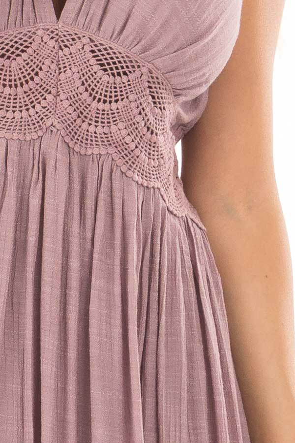 Lilac Sleeveless Open Back Maxi Dress with Lace Accents front detail