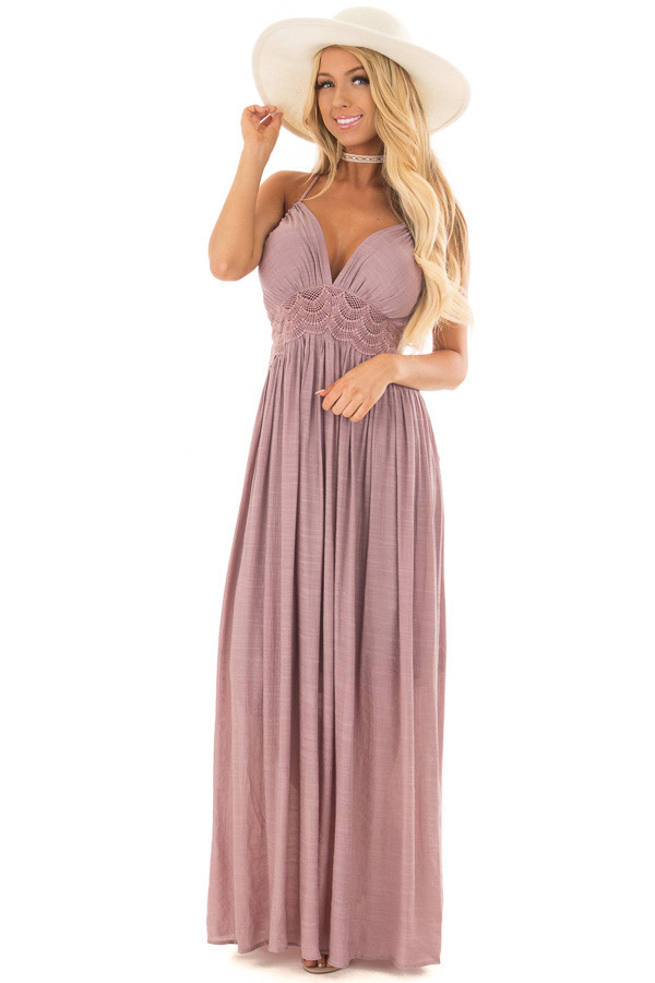 Lilac Sleeveless Open Back Maxi Dress with Lace Accents front full body