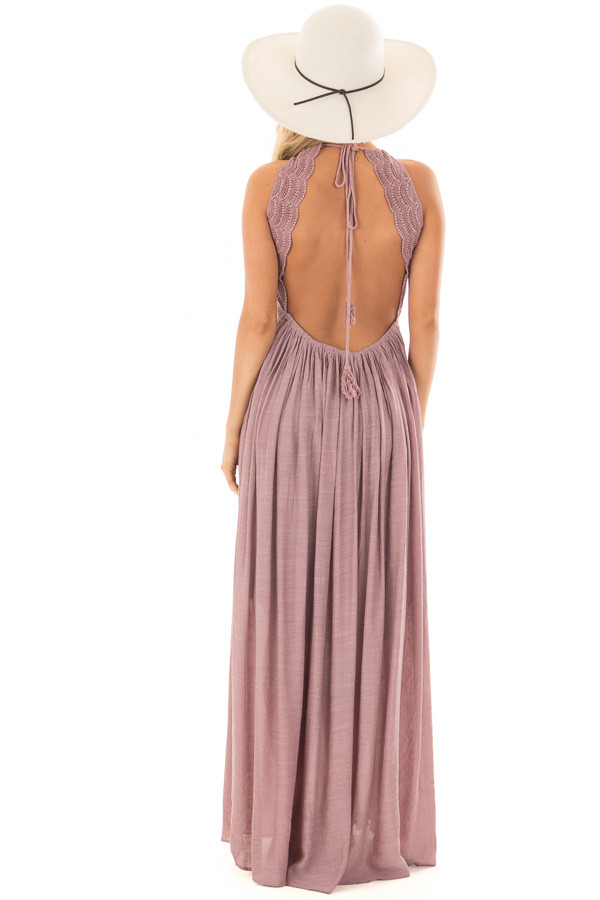 Lilac Sleeveless Open Back Maxi Dress with Lace Accents back full body