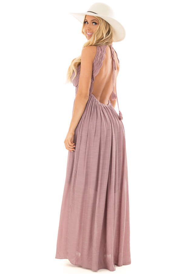 Lilac Sleeveless Open Back Maxi Dress with Lace Accents over the shoulder full body