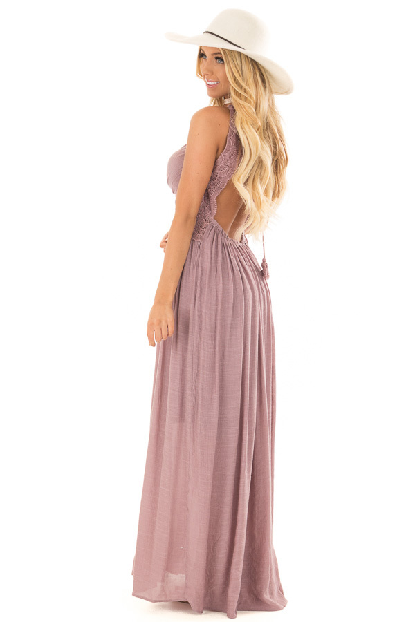 Lilac Sleeveless Open Back Maxi Dress with Lace Accents side full body