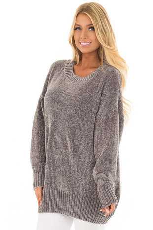 Hazel Grey Super Soft Tunic Sweater front closeup