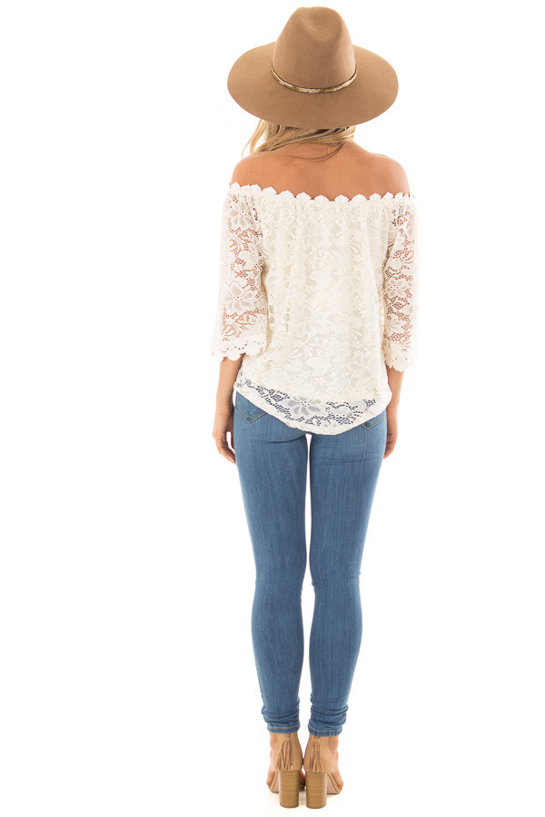 Ivory Off the Shoulder Top with Sheer Lace Detail back full body
