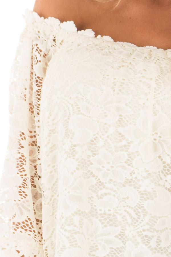 Ivory Off the Shoulder Top with Sheer Lace Detail front detail
