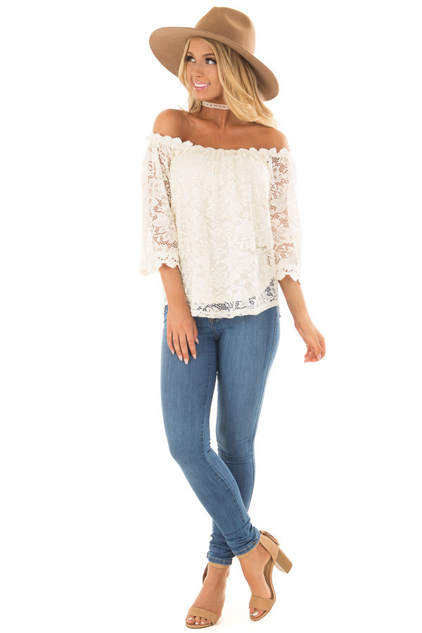 Ivory Off the Shoulder Top with Sheer Lace Detail front full body