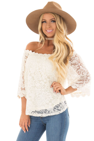 Ivory Off the Shoulder Top with Sheer Lace Detail front closeup