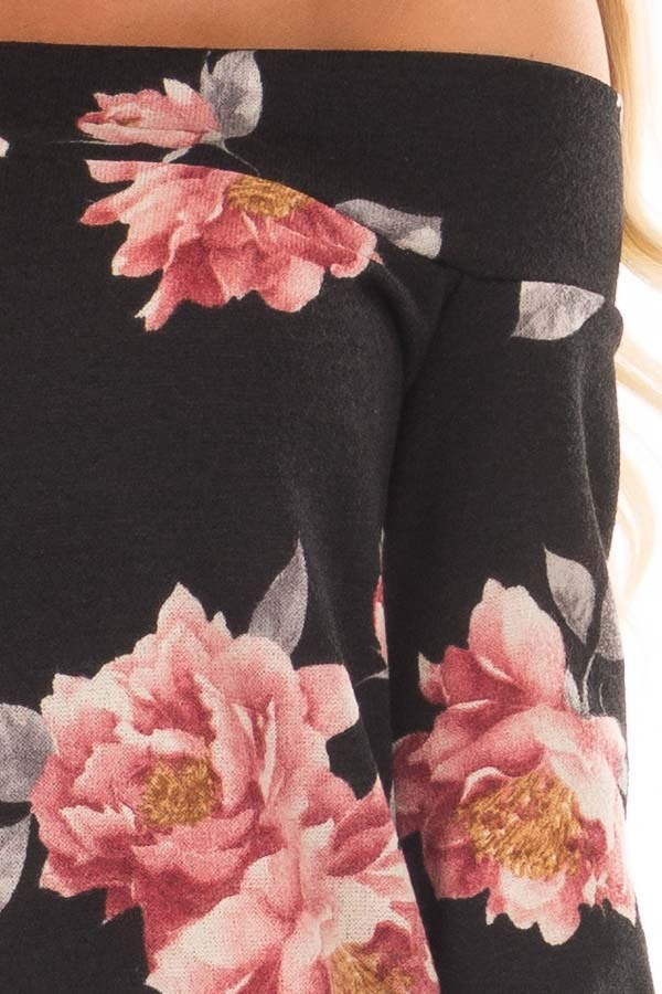 Black Floral Off the Shoulder Sweater front detail