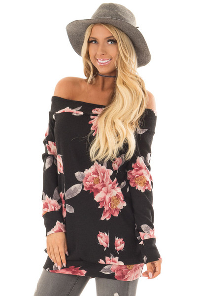 Black Floral Off the Shoulder Sweater front closeup